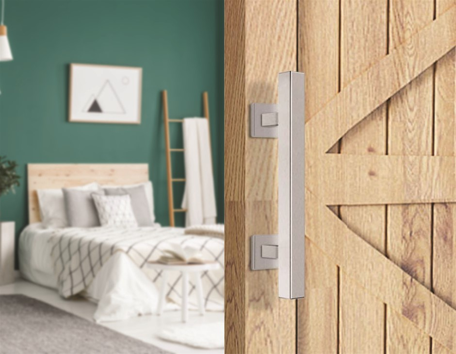 """12"""" Square Pull & Flush Door Handle Set Stainless Steel Barn Door Hardware"""