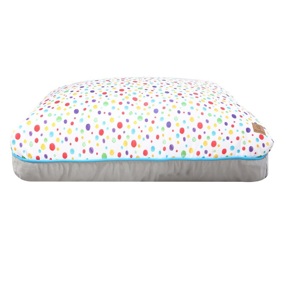 Charlie's Rectangular Funk Pet Bed Pad- Rainbow Dots Medium