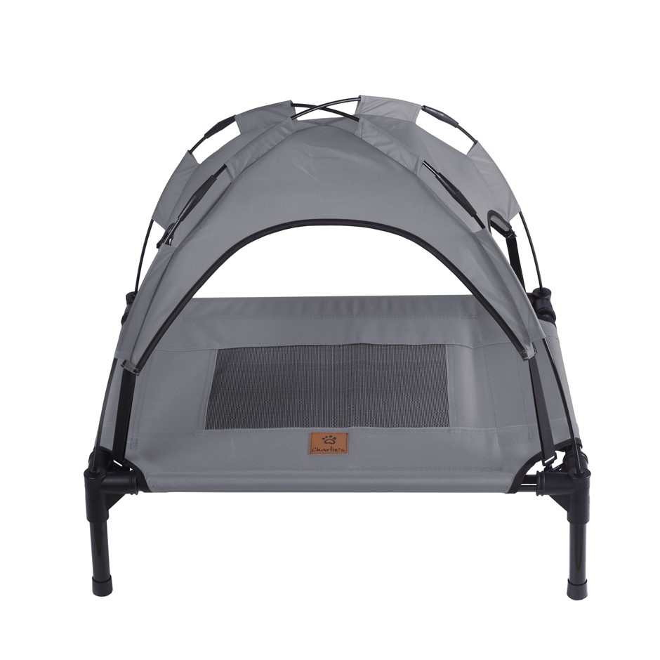 Charlies Elevated Pet Bed With Tent Light Grey Small