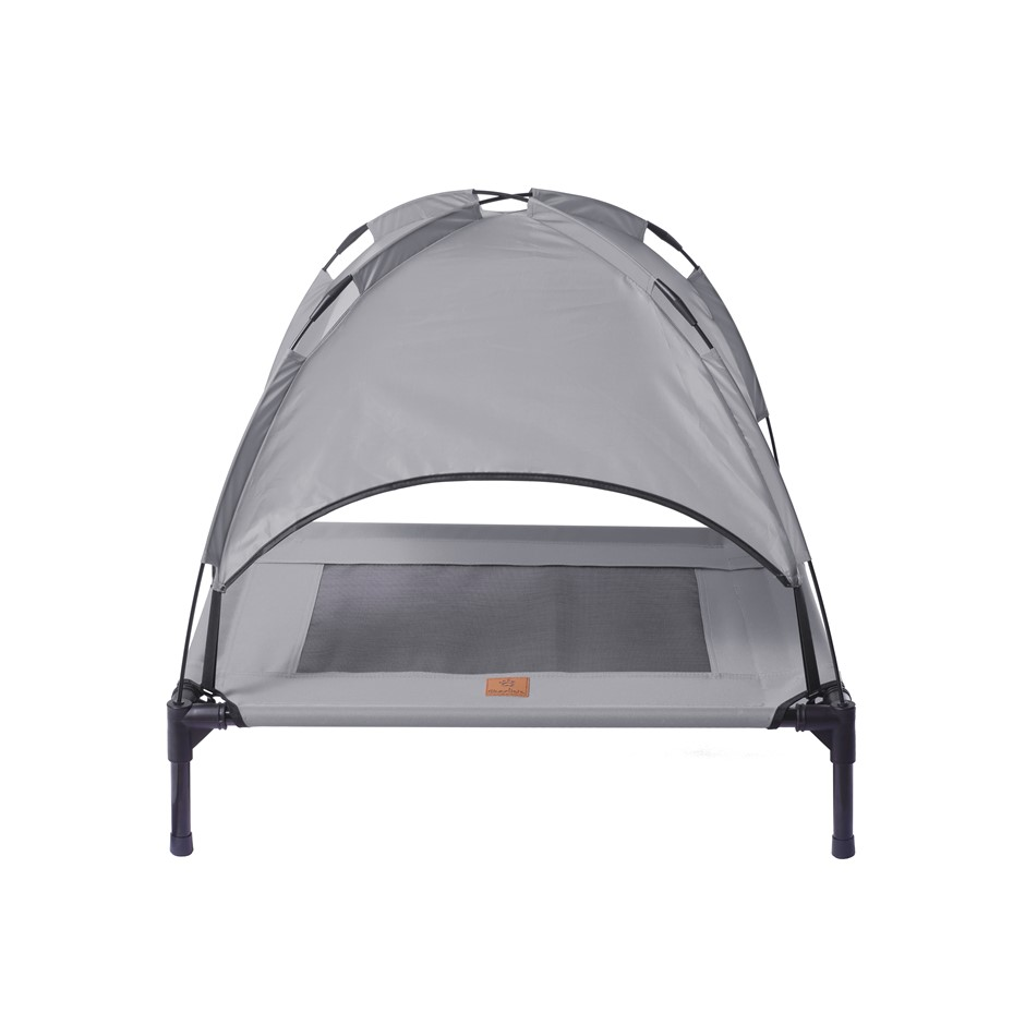 Charlies Elevated Pet Bed With Tent Light Grey Medium