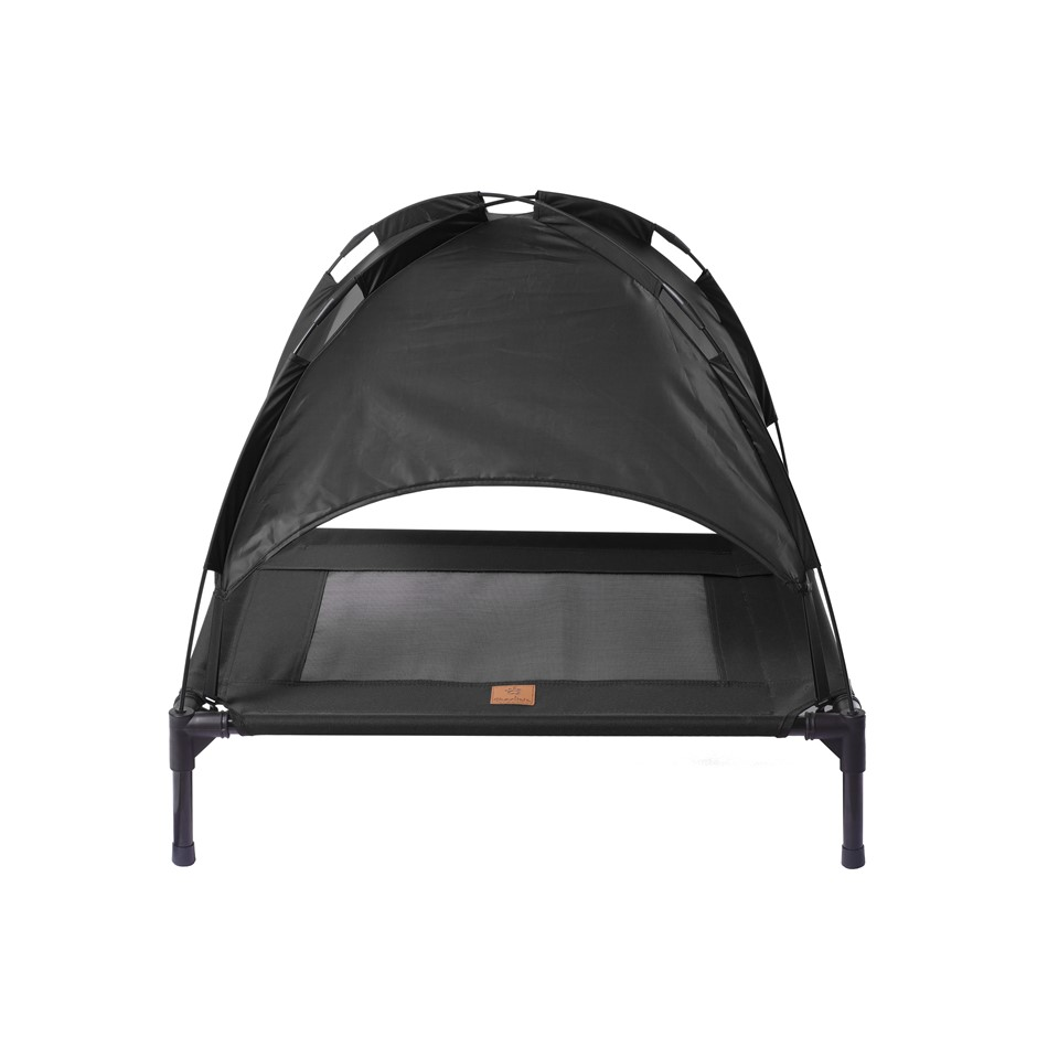 Charlies Elevated Pet Bed With Tent Black Medium