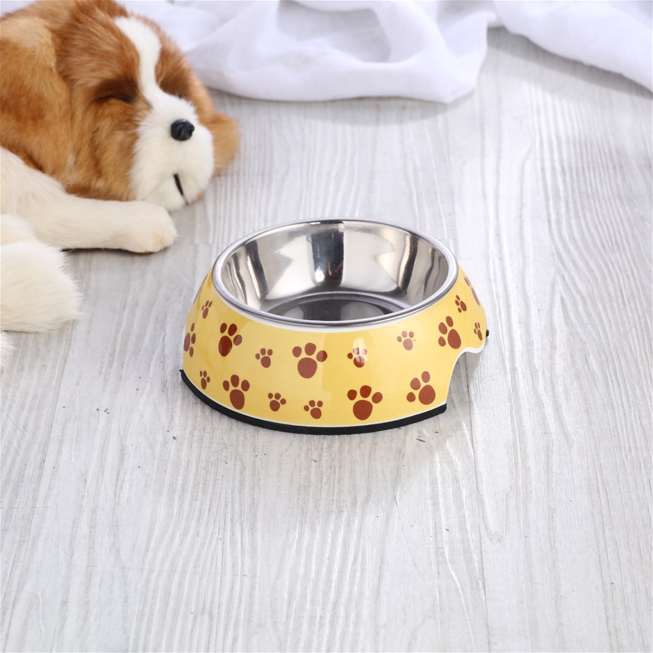 Charlie's Melamine Printed Pet Feeders with Stainless Bowl -Pug Small
