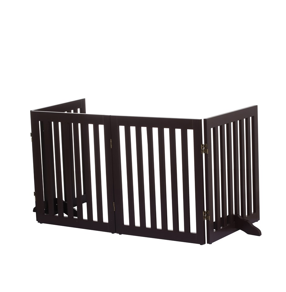 Charlie's Durable 100% MDF 4 Panel Freestanding Pet Gate Brown