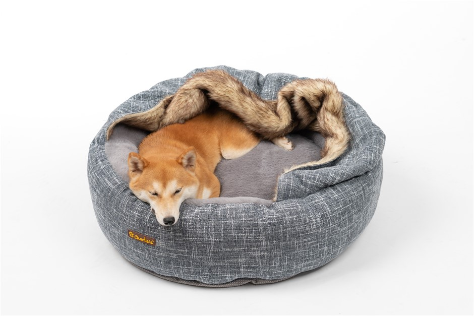 Charlie's Pet Round Bed with Faux Fur Cover Dark Grey - Medium