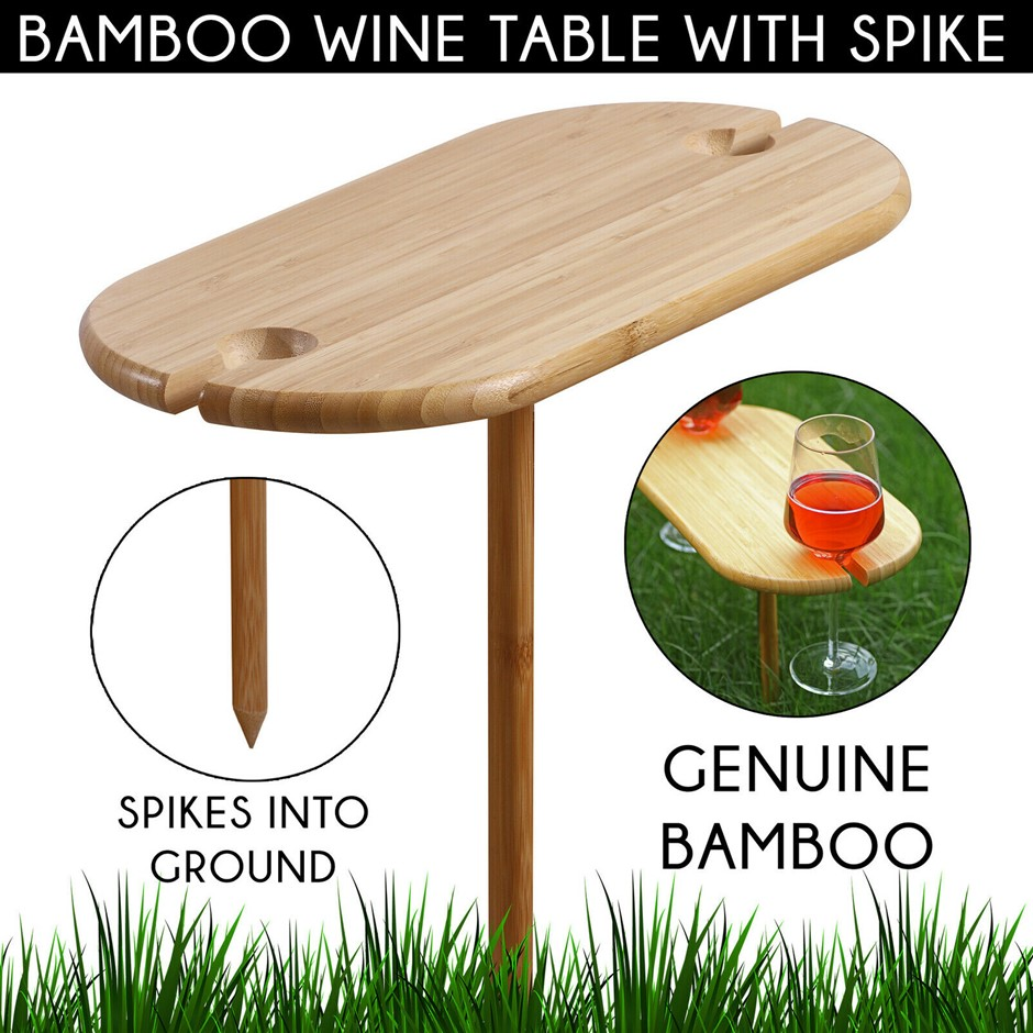Gourmet Kitchen Bamboo wine table with screw-in spike