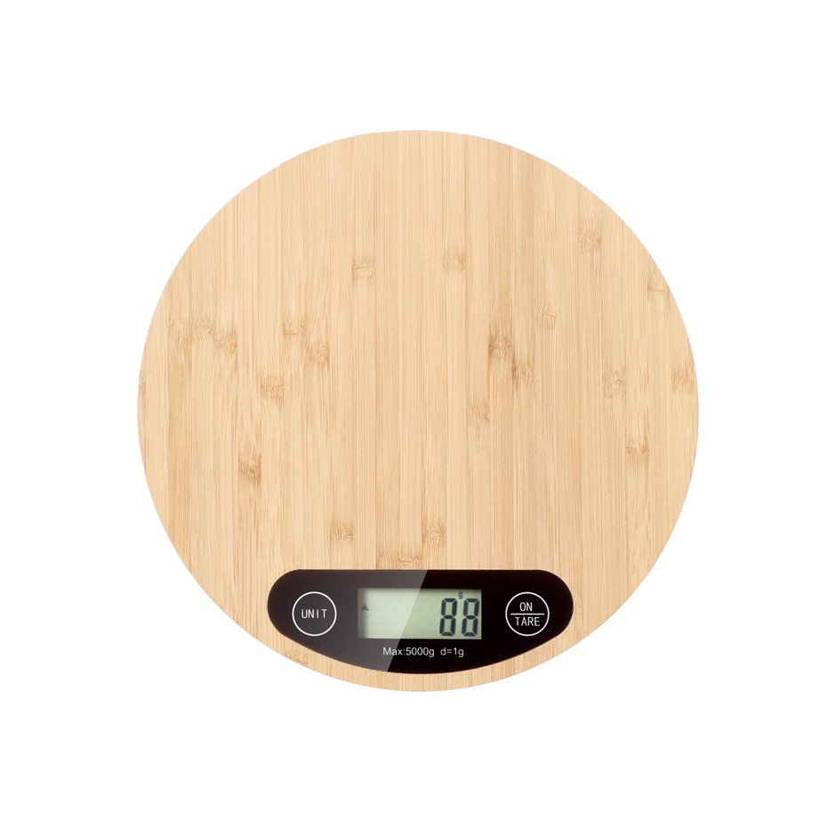 Gourmet Kitchen Bamboo Round Kitchen scale - Natural Brown