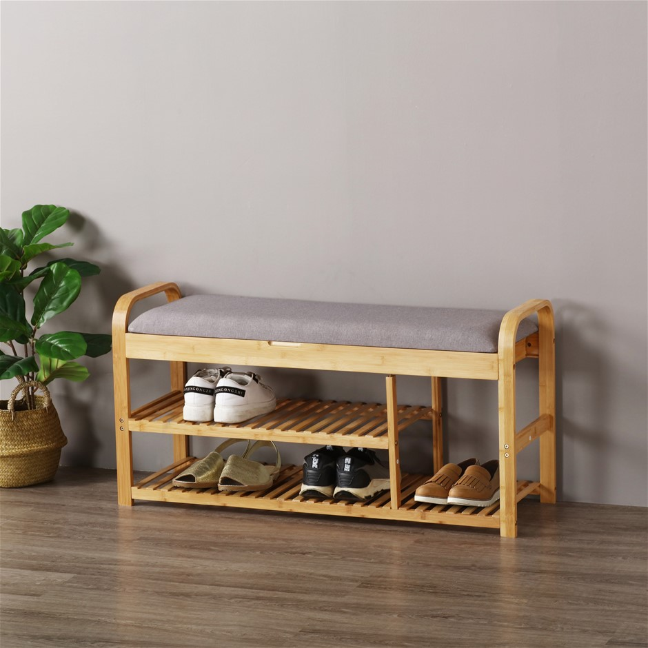 Sherwood Foldable Bamboo Cushioned Bench Shoe Storage 3-Tier