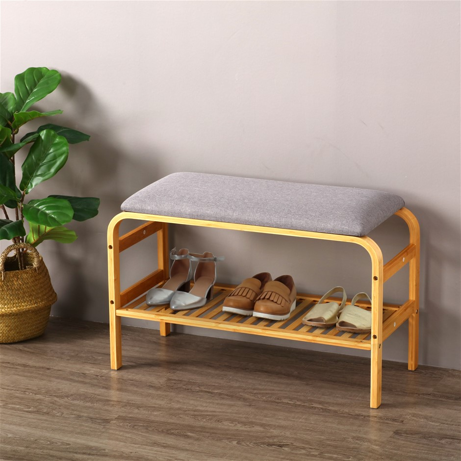 Sherwood Foldable Bamboo Cushioned Bench Shoe Storage 2-Tier