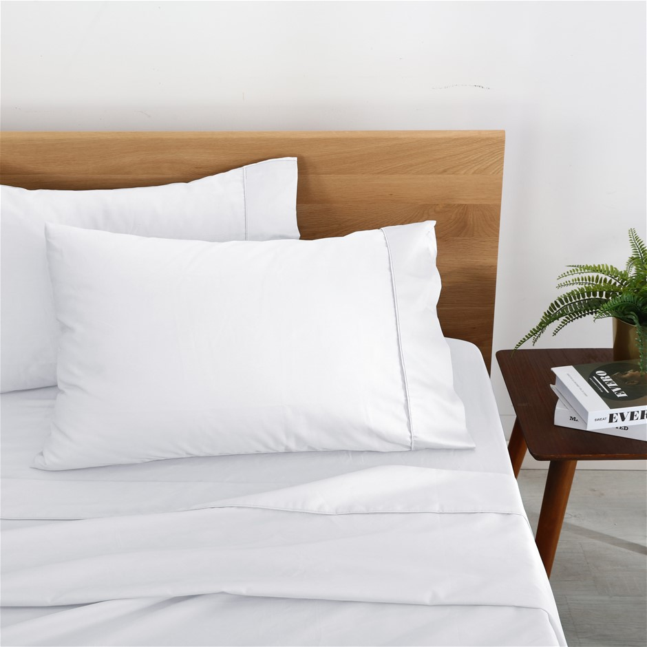 Natural Home Organic Cotton Sheet Set Single Bed WHITE