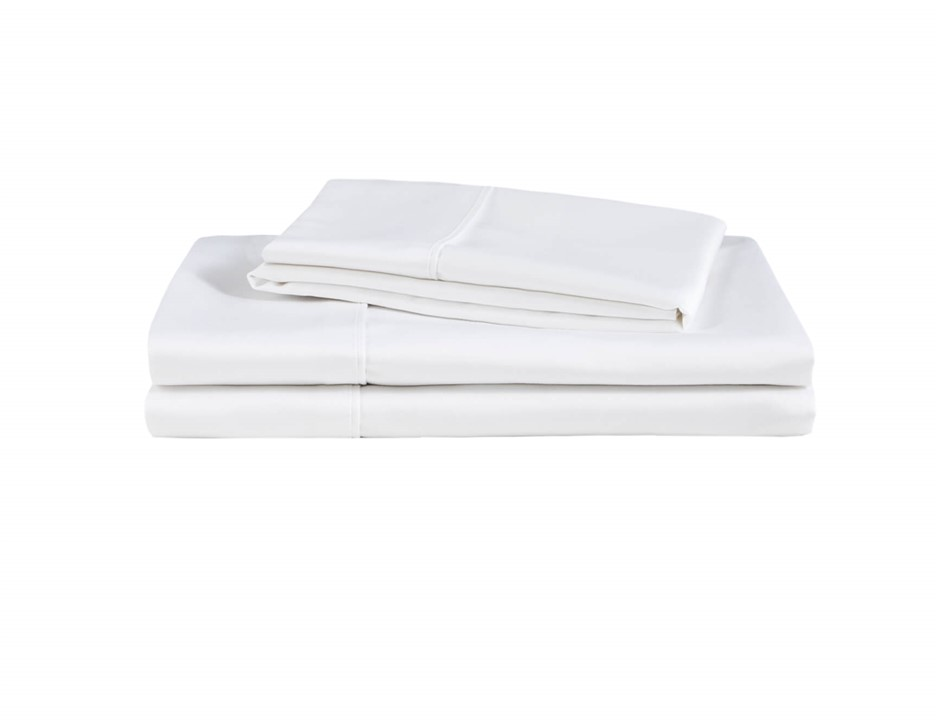 Natural Home Organic Cotton Sheet Set Double Bed WHITE