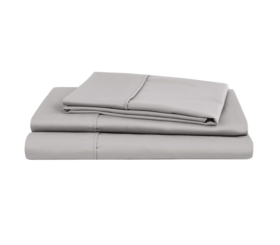 Natural Home Organic Cotton Sheet Set King Single Bed SILVER