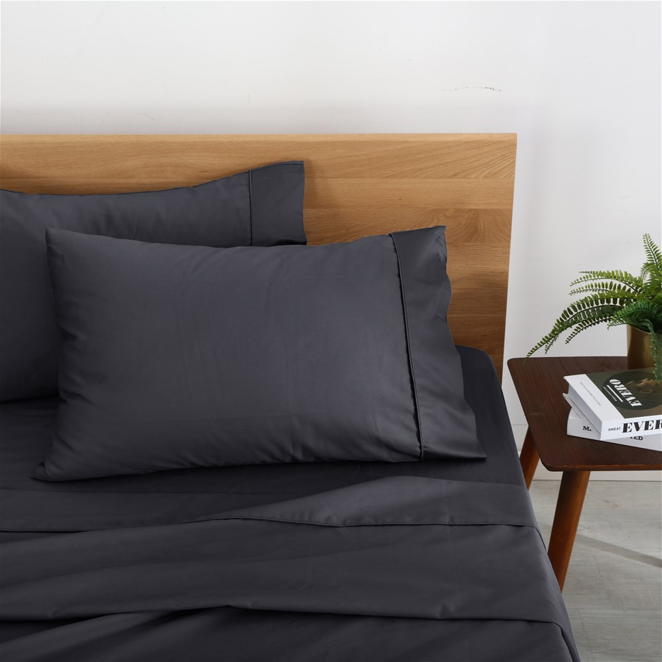 Natural Home Organic Cotton Sheet Set Single Bed CHARCOAL