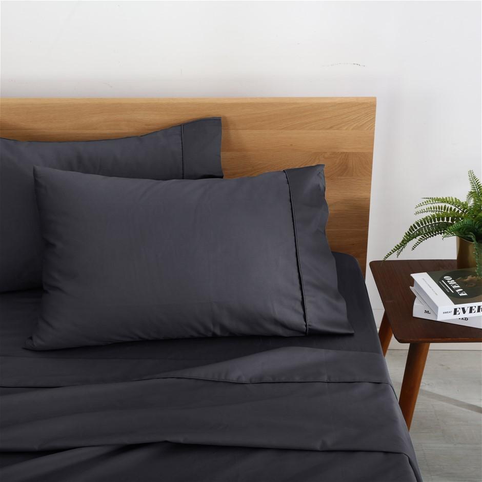 Natural Home Organic Cotton Sheet Set Single Bed CHARCOAL