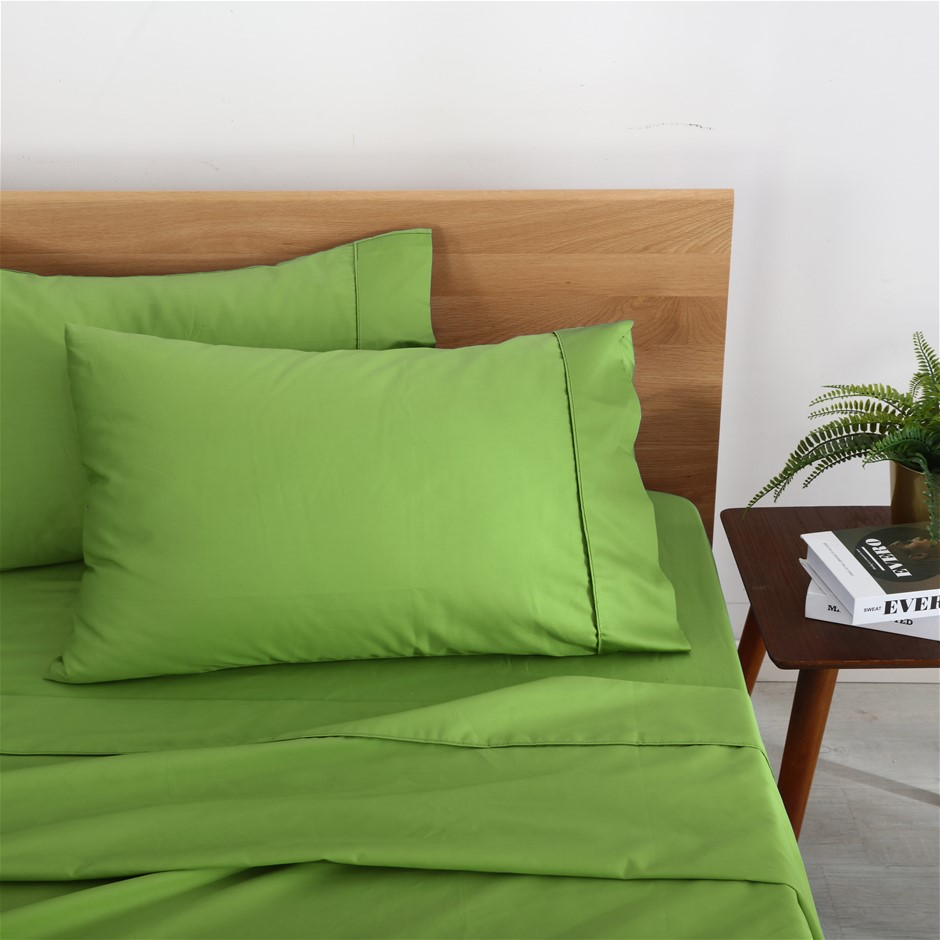 Natural Home Organic Cotton Sheet Set Single Bed GREEN