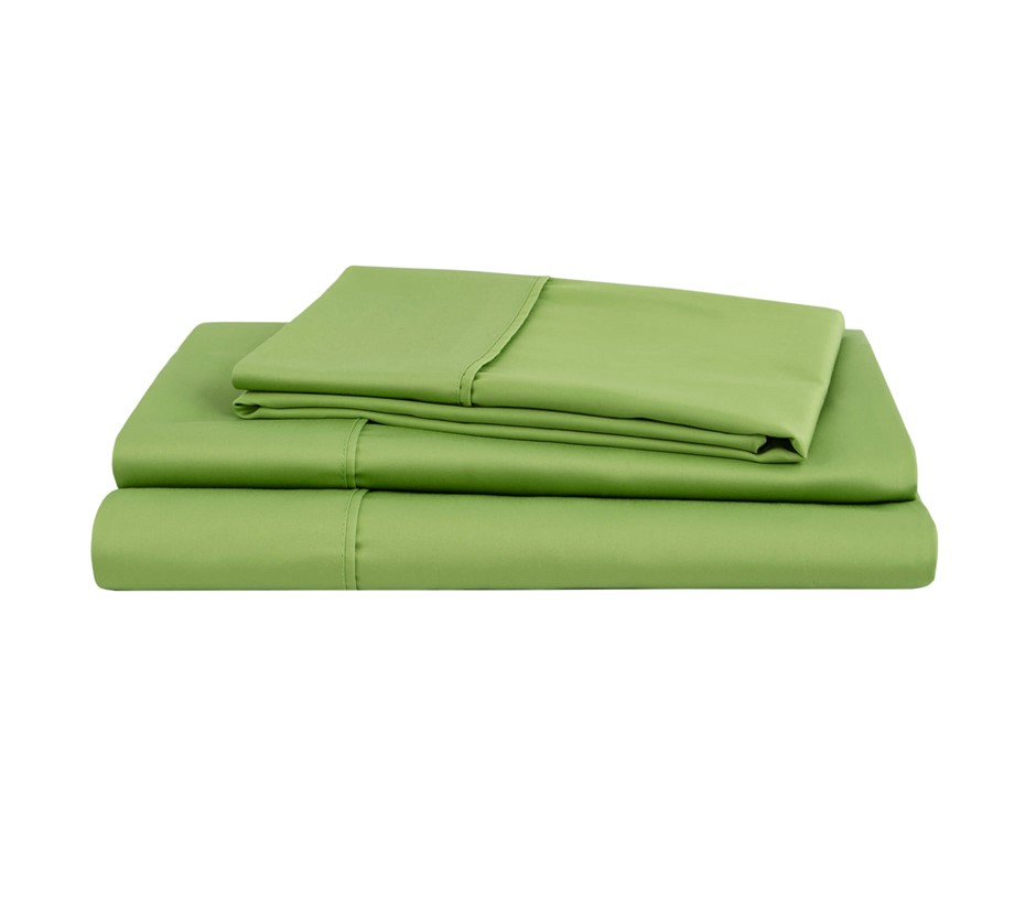 Natural Home Organic Cotton Sheet Set Double Bed GREEN