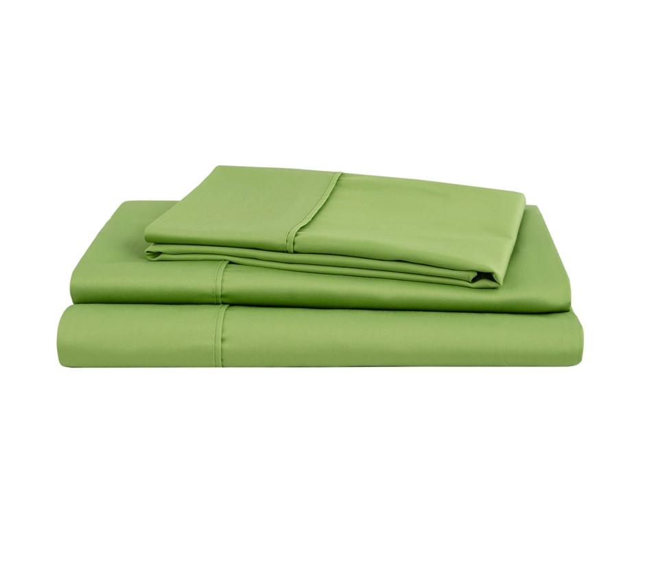 Natural Home Organic Cotton Sheet Set King Bed GREEN