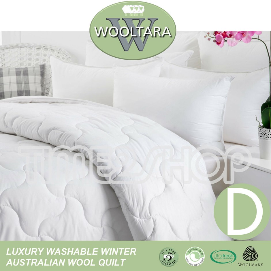 Wooltara Imperial Luxury 450GSM Washable Winter AUS Wool Quilt Double Bed