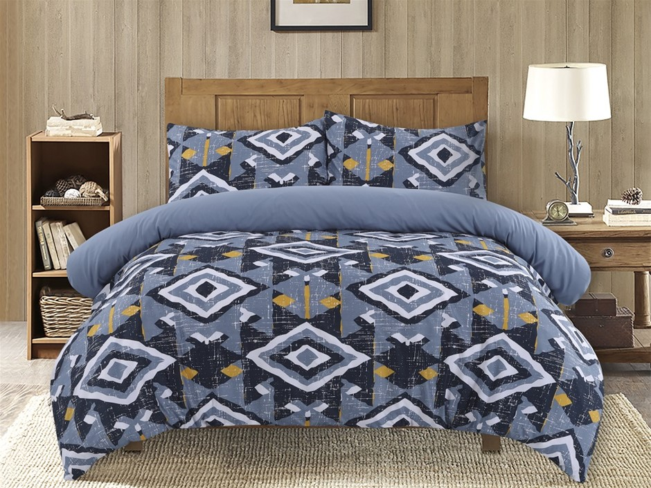 Dreamaker Printed Microfibre Quilt Cover Set King Single Bed Damacus