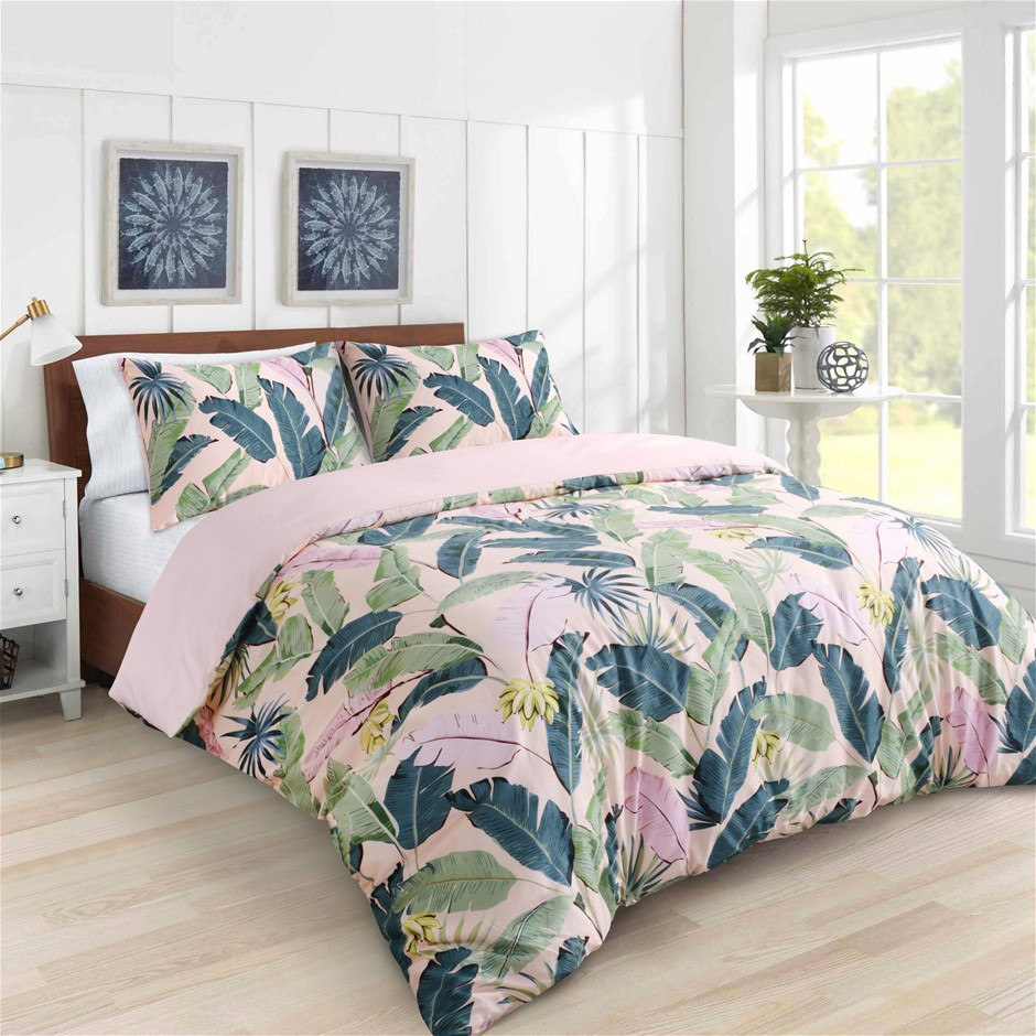 Dreamaker 300TC Cotton Sateen Printed Quilt Cover Set Pink Banana King Bed