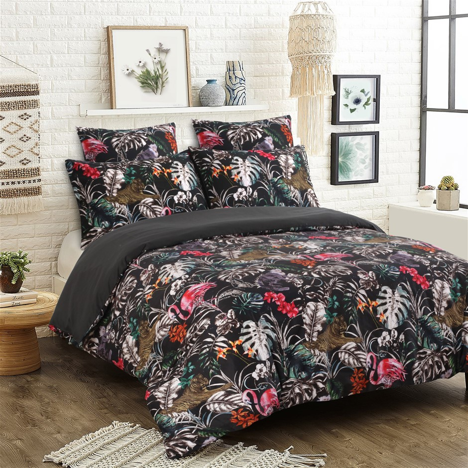 Dreamaker 300TC Cotton Sateen Printed Quilt Cover Set Dark Jungle Queen Bed