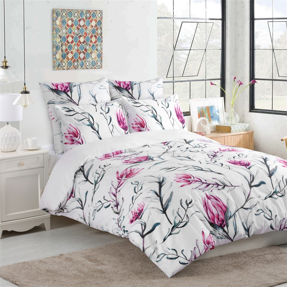 Dreamaker 300TC Cotton Sateen Printed Quilt Cover Set Pink Super King Bed