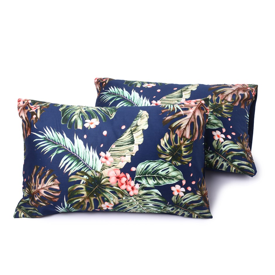 Dreamaker 300TC Cotton Sateen Printed Standard Pillowcase 2PK Orchid Forest