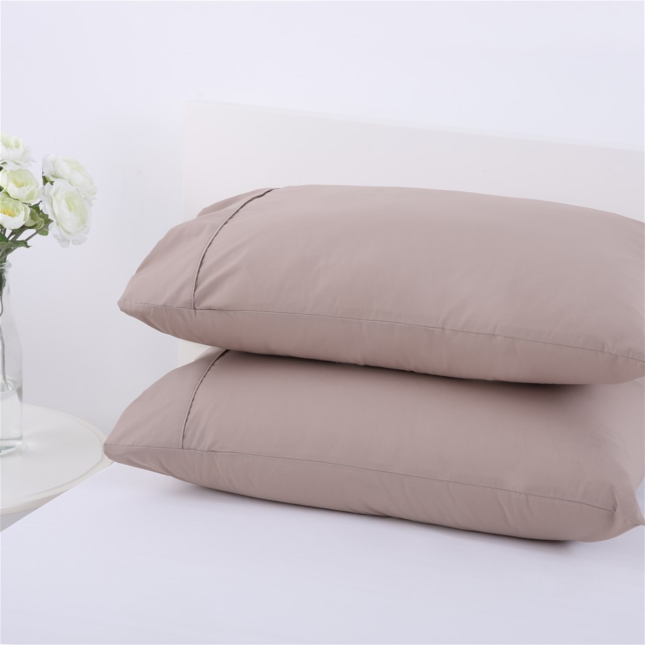 Dreamaker 250TC Plain Dyed Standard Pillowcases - Twin Pack -moonrock