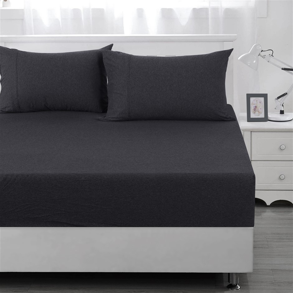 Dreamaker cotton jersey fitted sheet charcoal KB