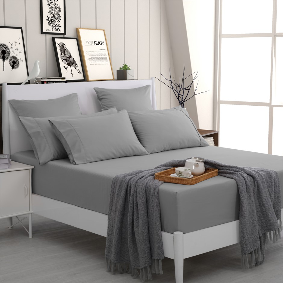 Dreamaker 500 TC Cotton Sateen Fitted Sheet Single Bed - Platinum