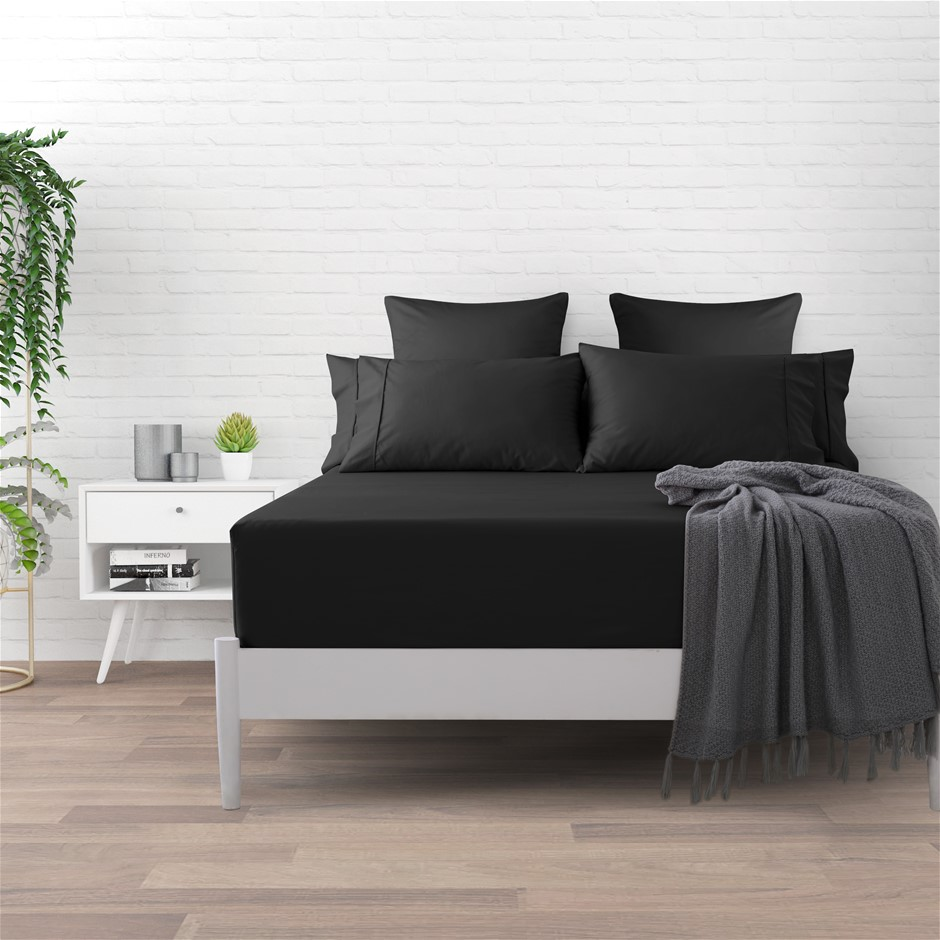 Dreamaker 500 TC Cotton Sateen Fitted Sheet Single Bed - Charcoal