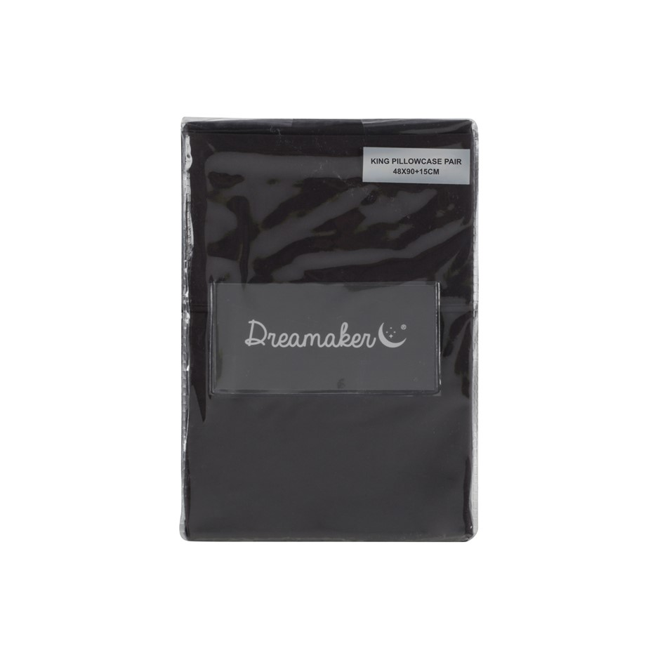 Dreamaker 500 TC Cotton Sateen King Pillowcase Twin Pack - Charcoal