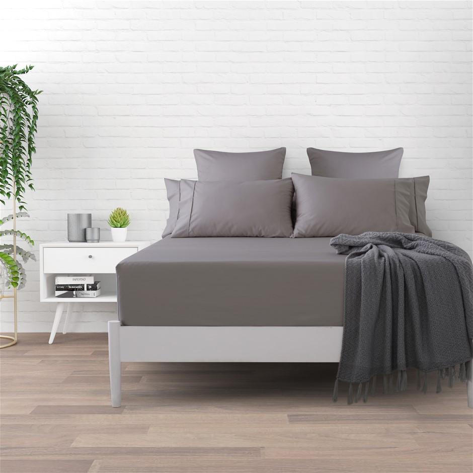 Dreamaker Cotton Sateen 1000TC Fitted Sheet Platinum Queen Bed