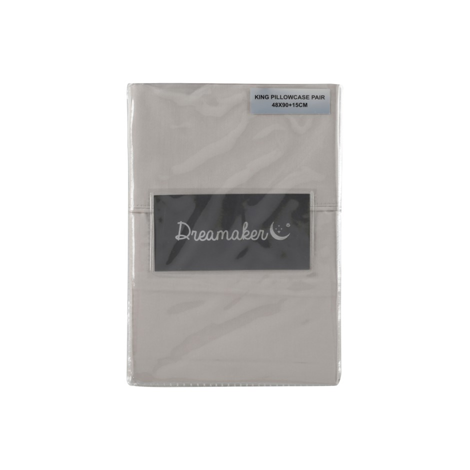 Dreamaker Cotton Sateen 1000TC king pillowcase Twin Pack Oyster