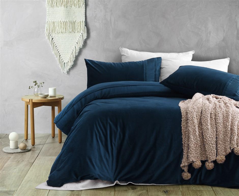 Dreamaker Ripple velvet Quilt Cover Set Queen Bed Navy