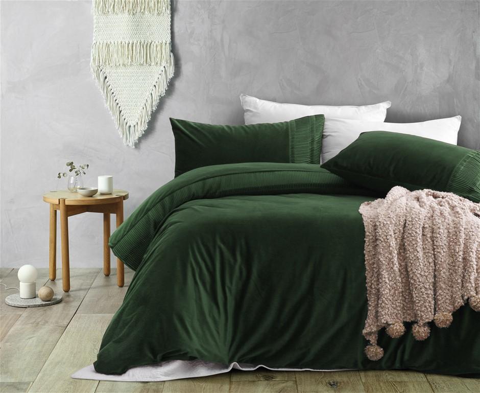 Dreamaker Ripple velvet Quilt Cover Set Queen Bed Eden