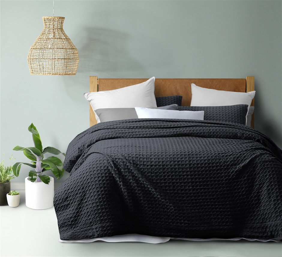 Dreamaker cotton waffle Quilt Cover Set KB Charcoal