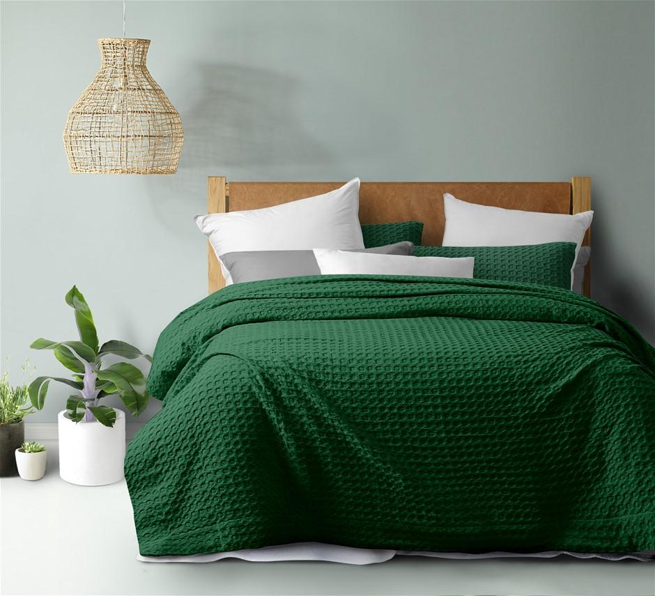 Dreamaker cotton waffle Quilt Cover Set QB Eden