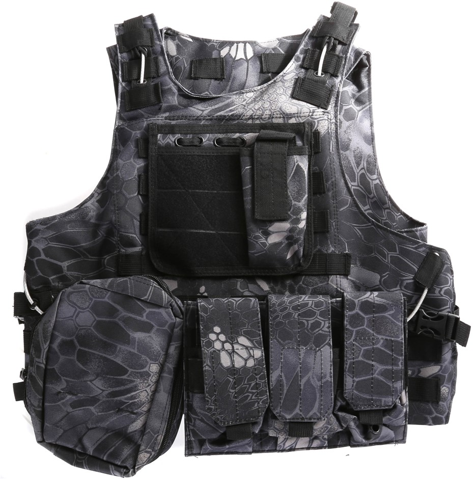 Heavy Duty Military Tactical Hunting Vest c/w 3 x Detachable Pouches, Black