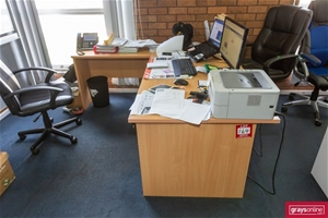 1x Office Desk with Chairs & Cupboard