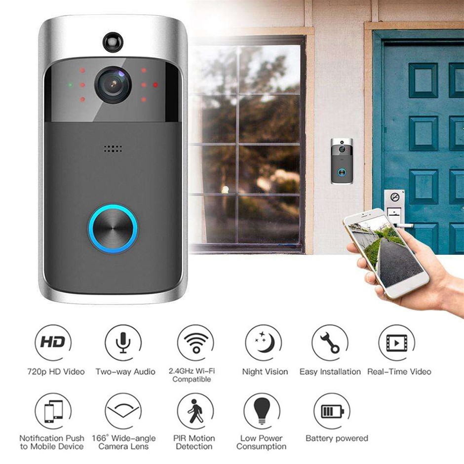 Wireless Smart Doorbell 2-Way Talk 720P HD Camera Night Intercom