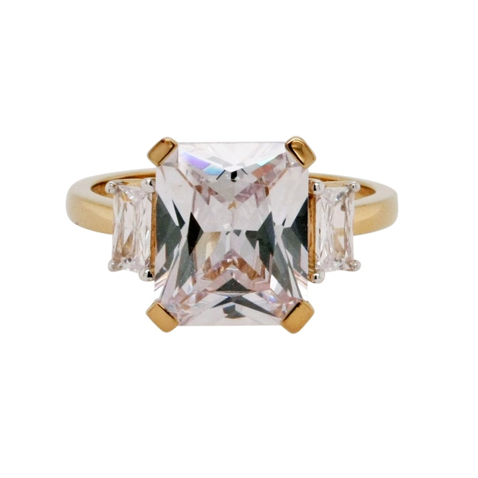 Ladies Yellow Gold Vermeil White CZ Deco Style Ring.