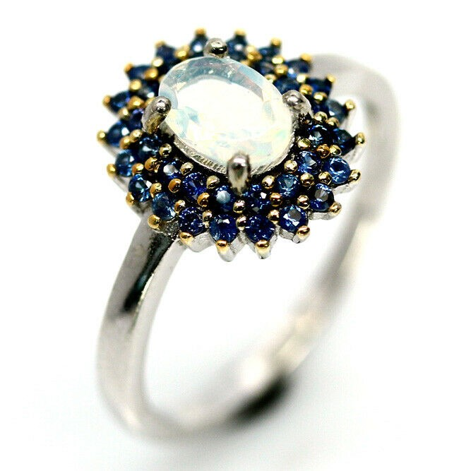 Gorgeous Genuine Rainbow Opal & Sapphire Ring
