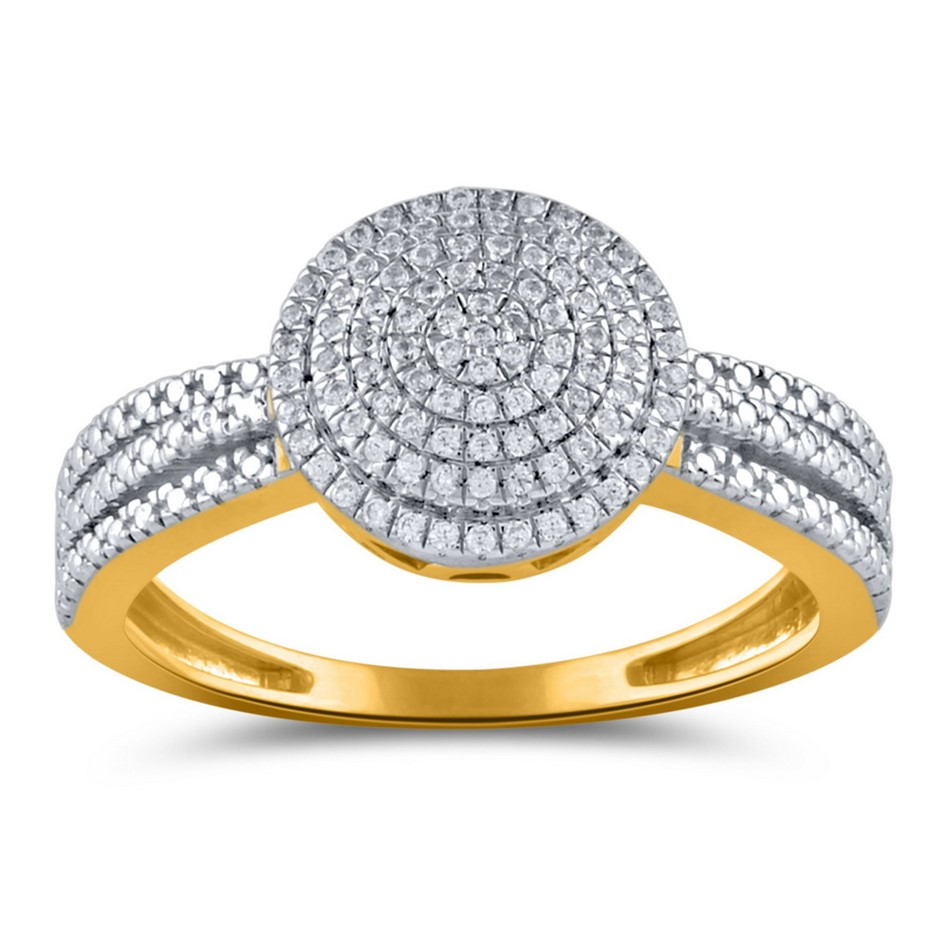 9ct Yellow Gold, 0.13ct Diamond Ring