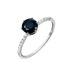 9ct White Gold, 1.21ct Blue Sapphire and