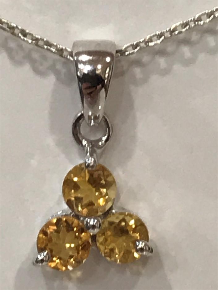 Stunning Genuine Golden Citrine & 18K W/Gold Vermeil Pendant