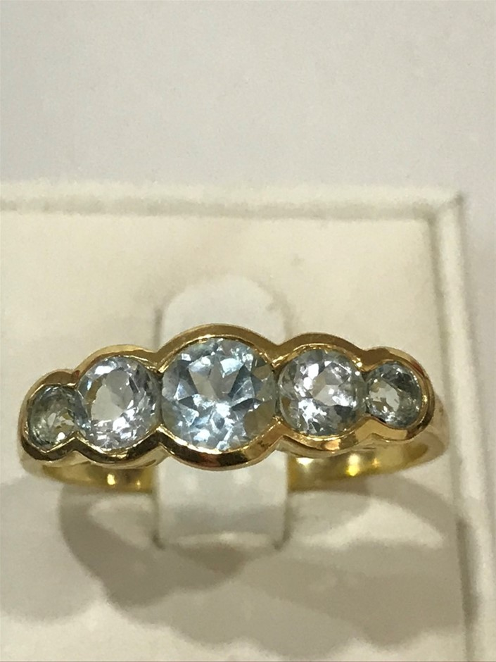 Classical Five Stone Blue Topaz & 18K Y/Gold Vermeil Ring Size R 1/2 (9)