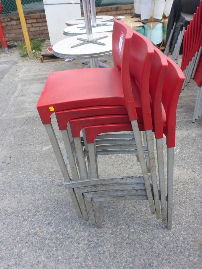 4 x Plastic & Aluminium Stackable Bar Stools