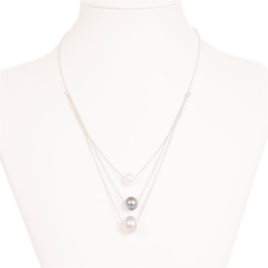 Three Colour Freshwater Pearl Necklace On Sterling Silver