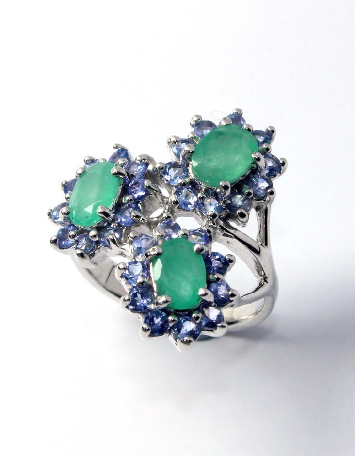 Sterling Silver Emerald & Tanzanite Ring