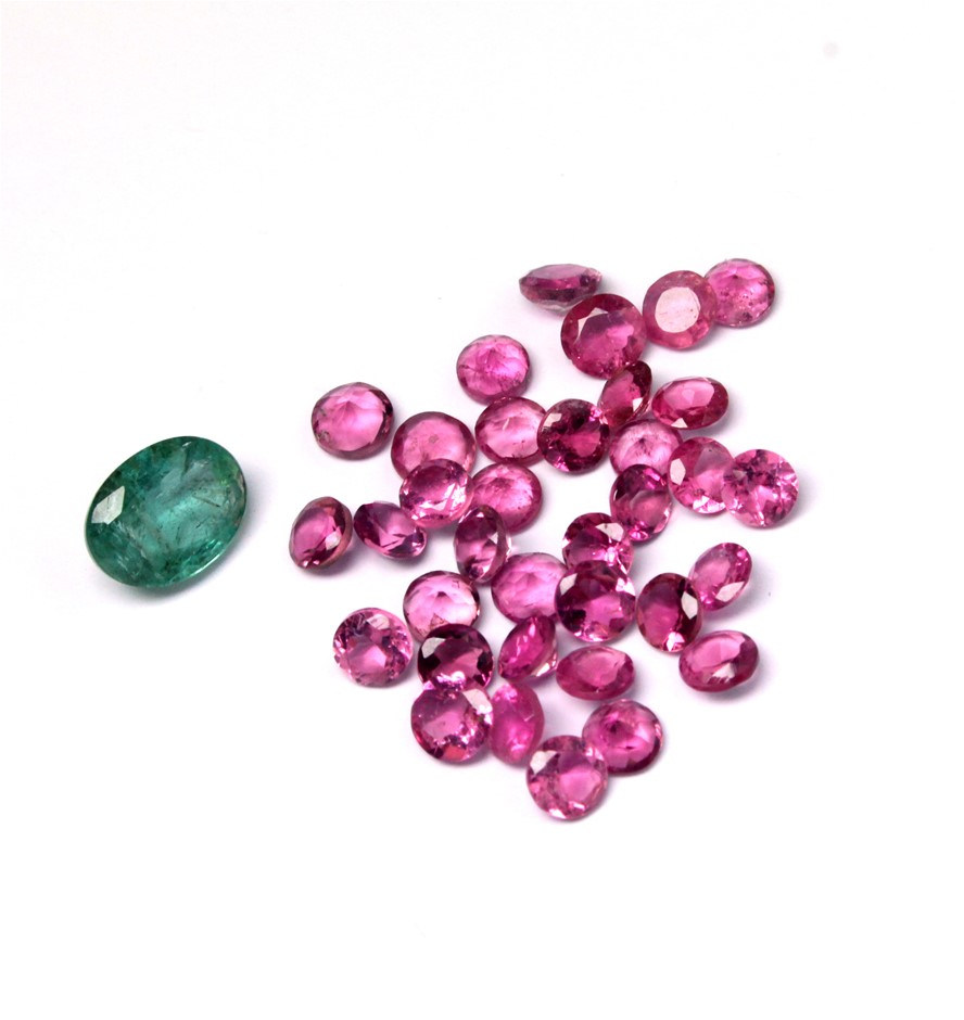 Emerald & Pink Tourmaline Gemstones Total 7.75ct